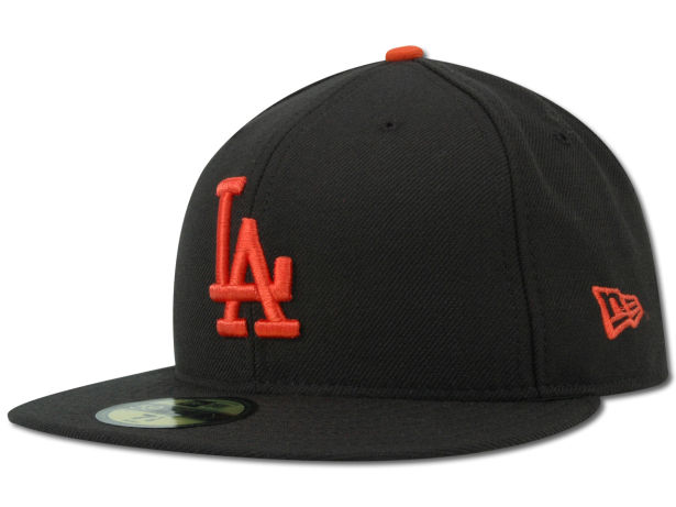 LA Dodgers logo on SF Giants orange and black