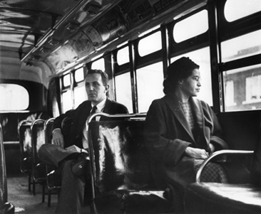 After the Supreme Court decision, Rosa Parks rides at the front of the bus.