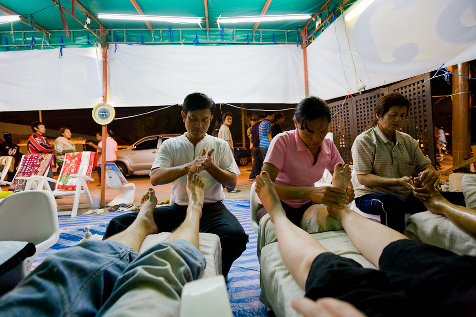 Foot massage. Ayuthaya, Thailand.