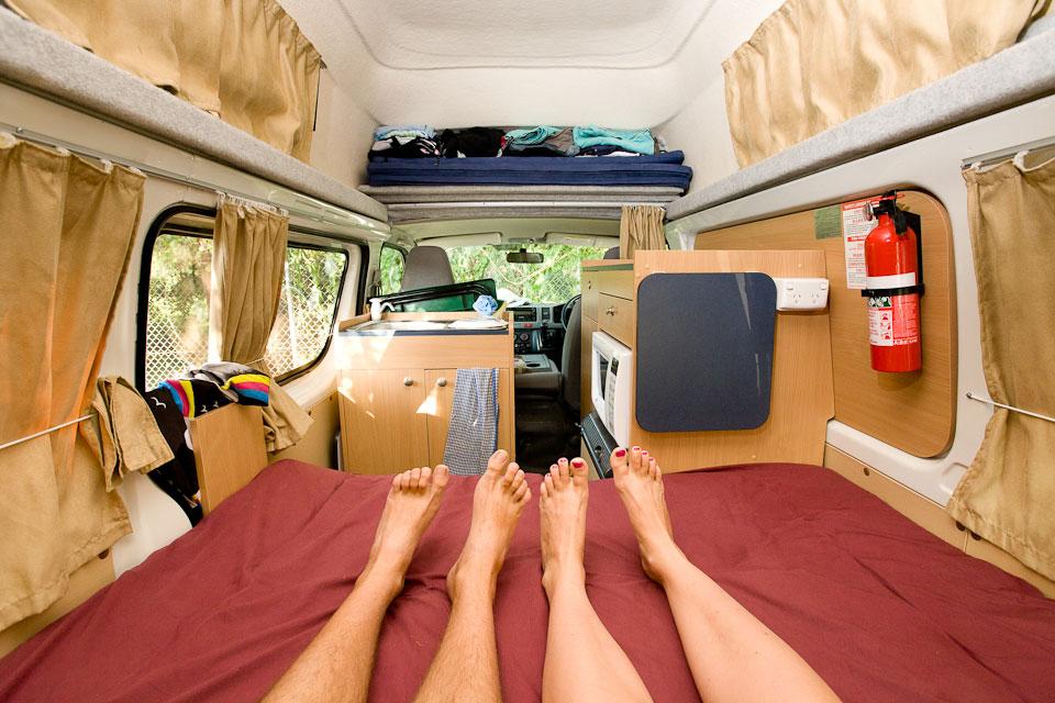 In our beloved camper-van, Australia.